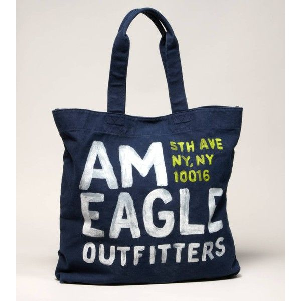 American Eagle Outfitters Aeo Nyc Graphic Tote ($20) ❤ liked on Polyvore featuring bags, handbags, tote bags, purses, american eagle outfitters, hand bags, man tote bag, tote bag purse and blue tote bag
