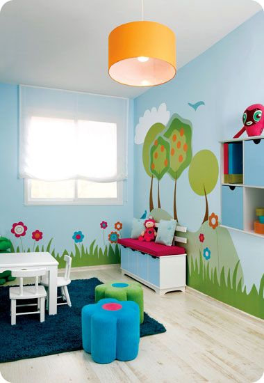 kids play room. Love the walls
