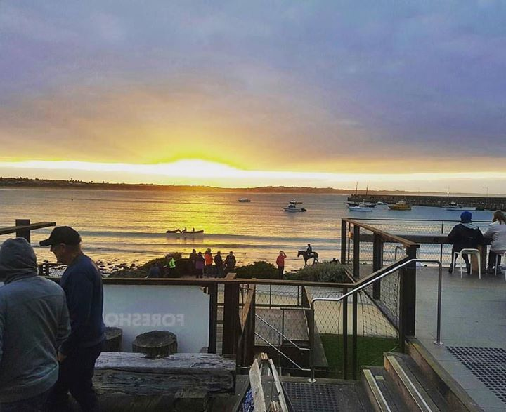 #Repost @pavilioncafebar  It was all happening down here this morning for day 2 of the May Races.  We'll be open from 7am tomorrow to help you fuel up for a big day of racing   #mayraces #horsetraining #horse #gaiwaterhouse #destinationwarrnambool #warrnambool #sunrise #coffee #greatoceanroad