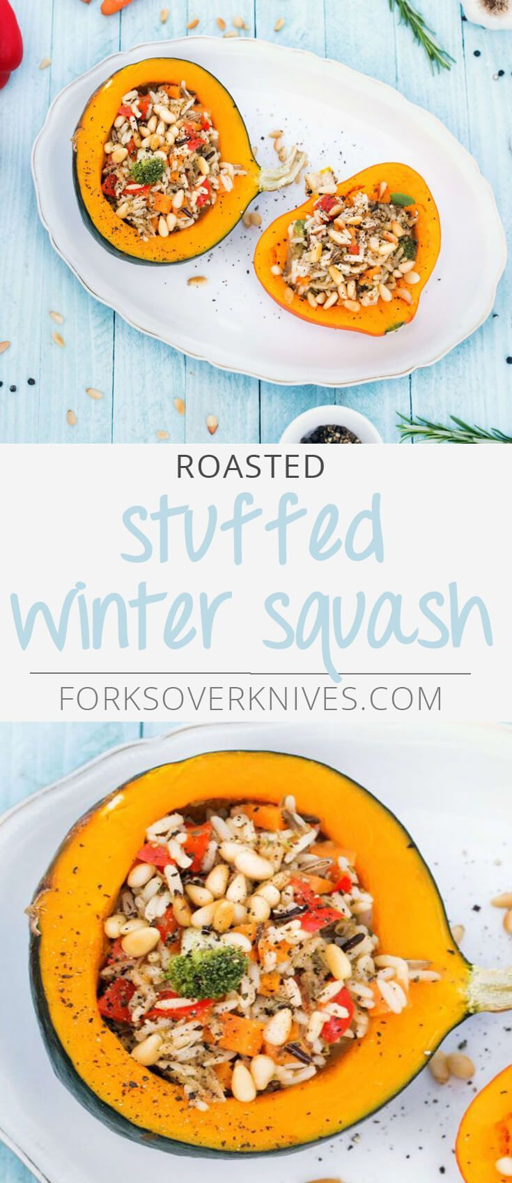 Roasted Stuffed Winter Squash - Plant-Based Vegan Recipe