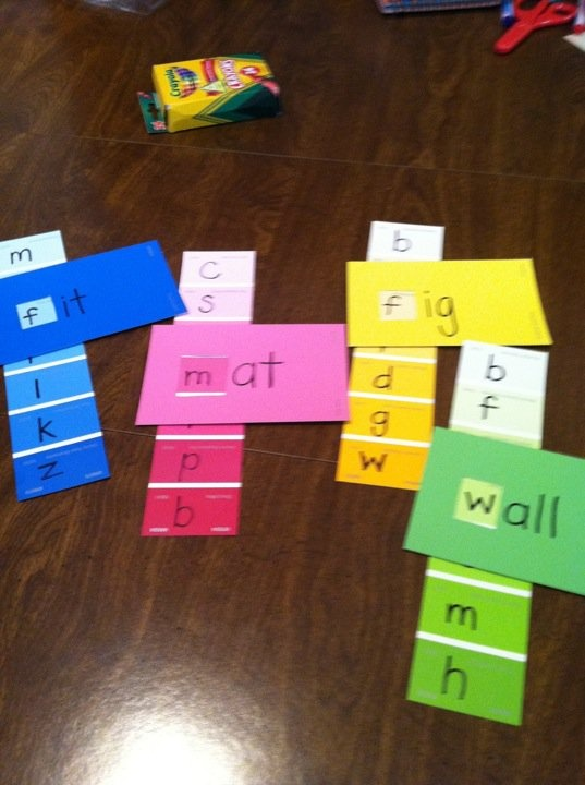 "Sight words and paint chips---Just cut a square ""hole"" for each of the beginning letters in each strip."