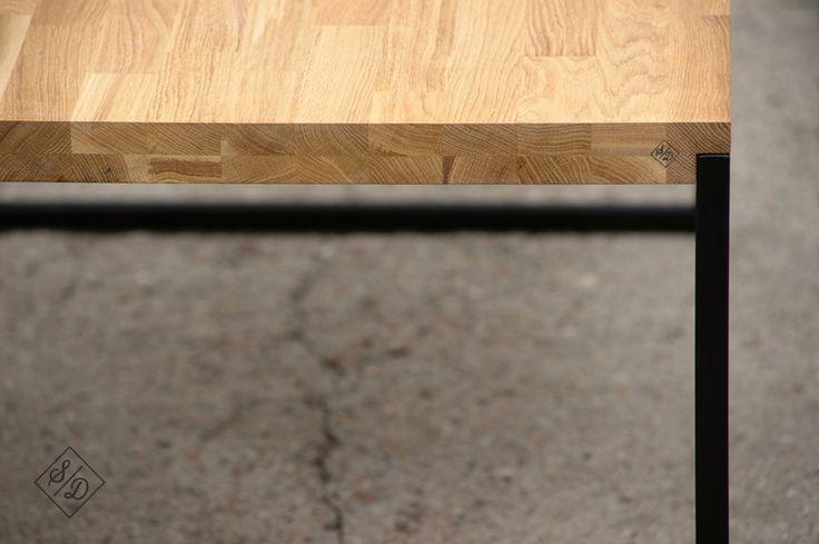 coffee table, wood, steel