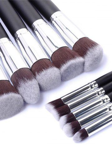 BLACK 10 Pcs Makeup Brushes Set + Makeup Sponge + Brush Egg