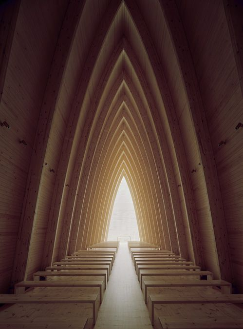Scandinavian Church interior: Put together in forty-three thousand hours using an allen wrench and a rubber mallet.