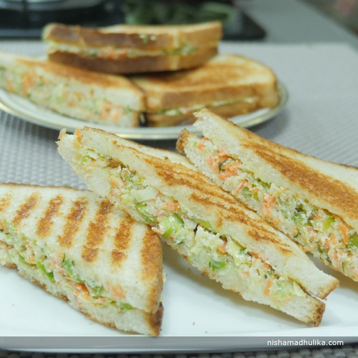 Curd sandwich is prepared with a delicious stuffing of hung curd, veggies and few spices. Recipe in English - http://indiangoodfood.com/1849-curd-sandwich.html ( copy and paste link into browser)  Recipe in Hindi - http://nishamadhulika.com/1467-dahi-ke-sandwich-recipe.html ( copy and paste link into browser)