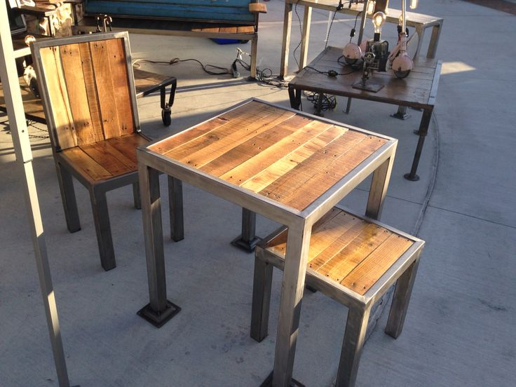 Custom fabricated table and chairs.