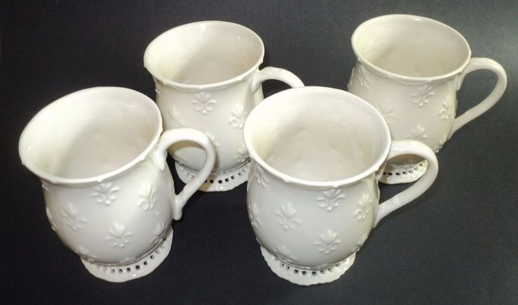 Skye McGhie Fine Porcelain Cream Lace Set Of 4 Coffee Cups 2002   eBay
