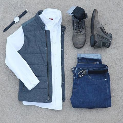 Follow @inisikpe for daily style/advice #suitgrid to be featured  ________________________________________ #SuitGrid by @mycreativelook ________________________________________  Tap 👉🏼📱For Brands Vest/Shirt: @bananarepublic Denim: @jcrew Shoes: @bedstu Socks: @officialluckybrand Watch: @fossil