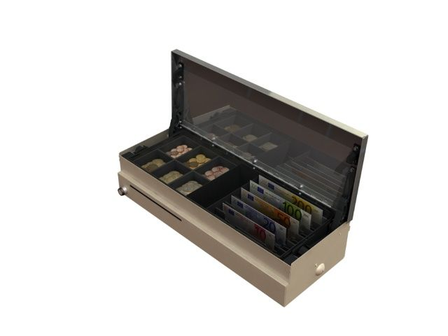 Cash Bases Fliptop Cash Drawer  460w x 170d x 100h Dual Voltage 9 pin inc 6 Note 6 Coin tray Lockable Lid White