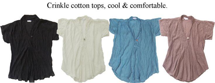 Cotton tops, cool colours with coconut button. www.marketique.com.au