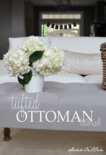 Tufted Ottoman Tutorial and Briar Hats in Gray- would love to do this with coordinating colors in place of a coffee table for one of our living rooms