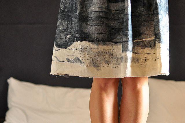 Simplicity 2215 Skirt : Nani Iro by make_something, use selvedge for hem