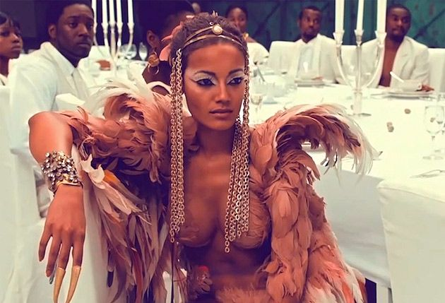 Selita Ebanks--Victoria's Secret model Selita Ebanks had a starring role in Kanye West's music video/short film, Runaway. The Caymanian beauty plays a phoenix who falls to Earth, only to be found by Mr. West. What proceeds is an ill-fated love affair between the musician and the bird, with everyone around them discriminating against the mythical creature, because of her out of the norm looks and behavior.