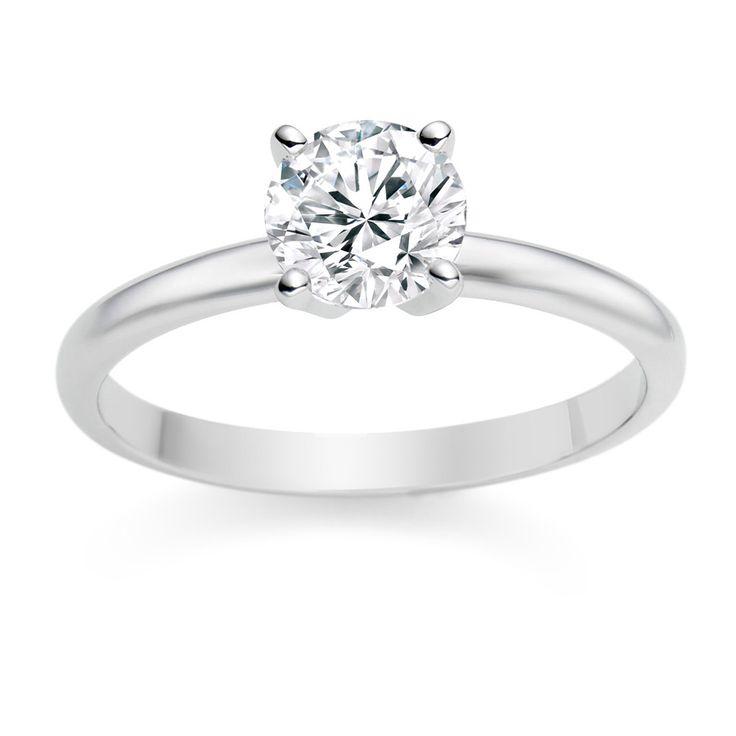 Round Cut 0.25 Carat D/IF 18k White Gold Diamond Engagement Ring  £799 vashi.com