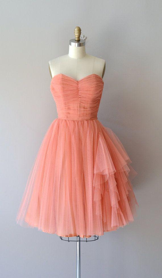 Mignonette dress vintage 1950s dress coral tulle by DearGolden