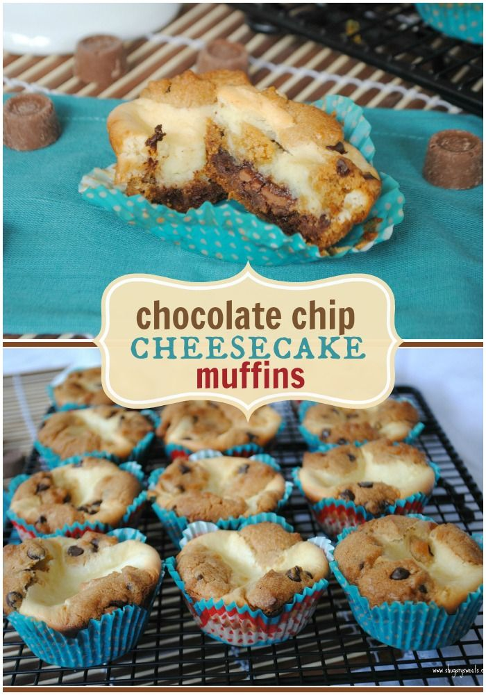 Chocolate Chip Cheesecake Muffins with Rolos. Delicious, easy recipe!