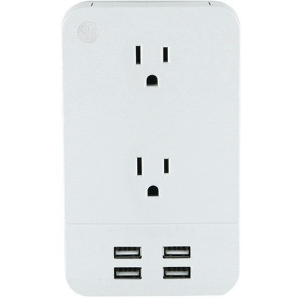 General Electric 31708 2-Outlet Surge-Protector Wall Tap with 4 USB Ports
