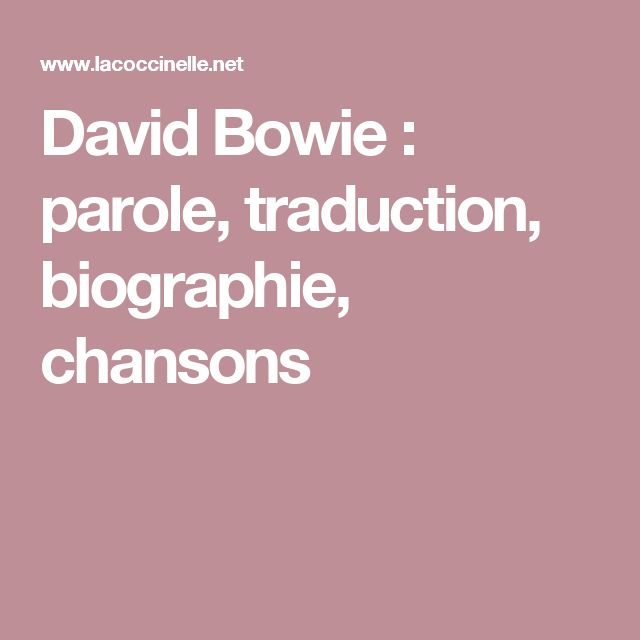 David Bowie : parole, traduction, biographie, chansons