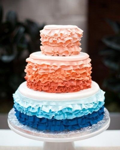 teal and coral cake | Top 5 Colors for a Summer Wedding