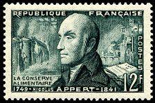 Inventions - Nicolas APPERT - La conserve alimentaire - timbre de 1955