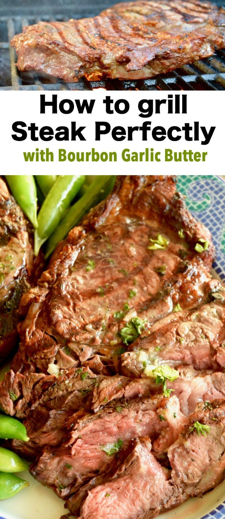 Grilled Steak with Bourbon Garlic Butter-- How to grill the perfect steak: Melted Bourbon Garlic butter blankets seared on the outside, juicy, tender on the inside steaks for an easy BBQ meal for entertaining. via @westviamidwest
