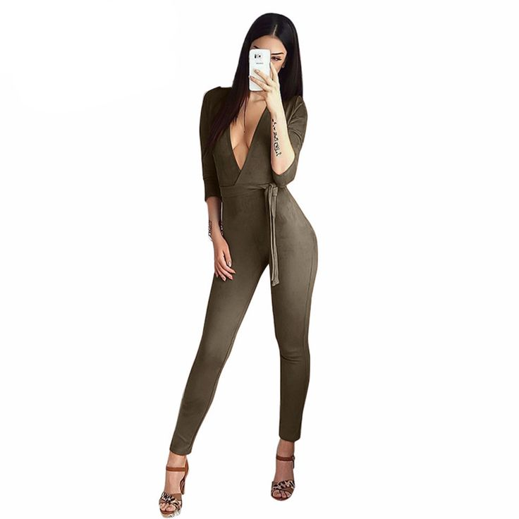 Sedrinuo Plus size Deep V neck Black Suede Bodycon Rompers Womens Jumpsuit Autumn Skinny Sexy Jumpsuit Fashion Overalls