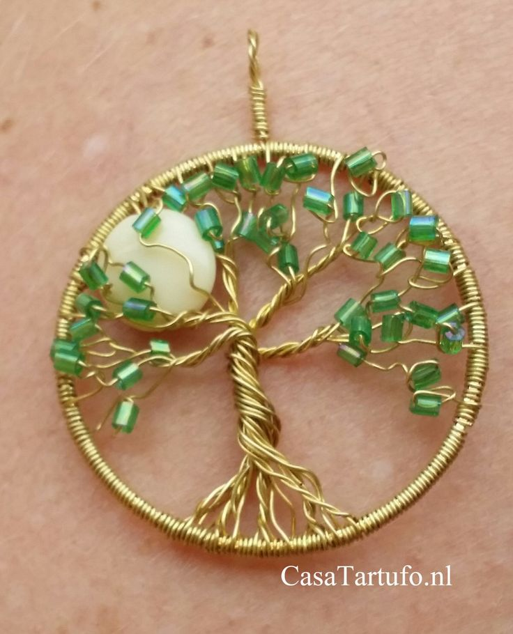 Wire Tree Pendant. 8.Gold with green rods and moon. (4 cm)Made by Sabine Stroo…