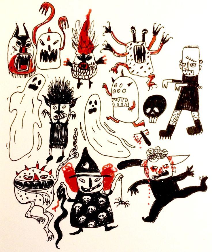 Horror for Halloween by Marie Åhfeldt - Mås Illusta #inktober #halloween #illustration