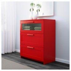БРИМНЭС Комод с 3 ящиками, красный, матовое стекло, 78x95 см 50226129