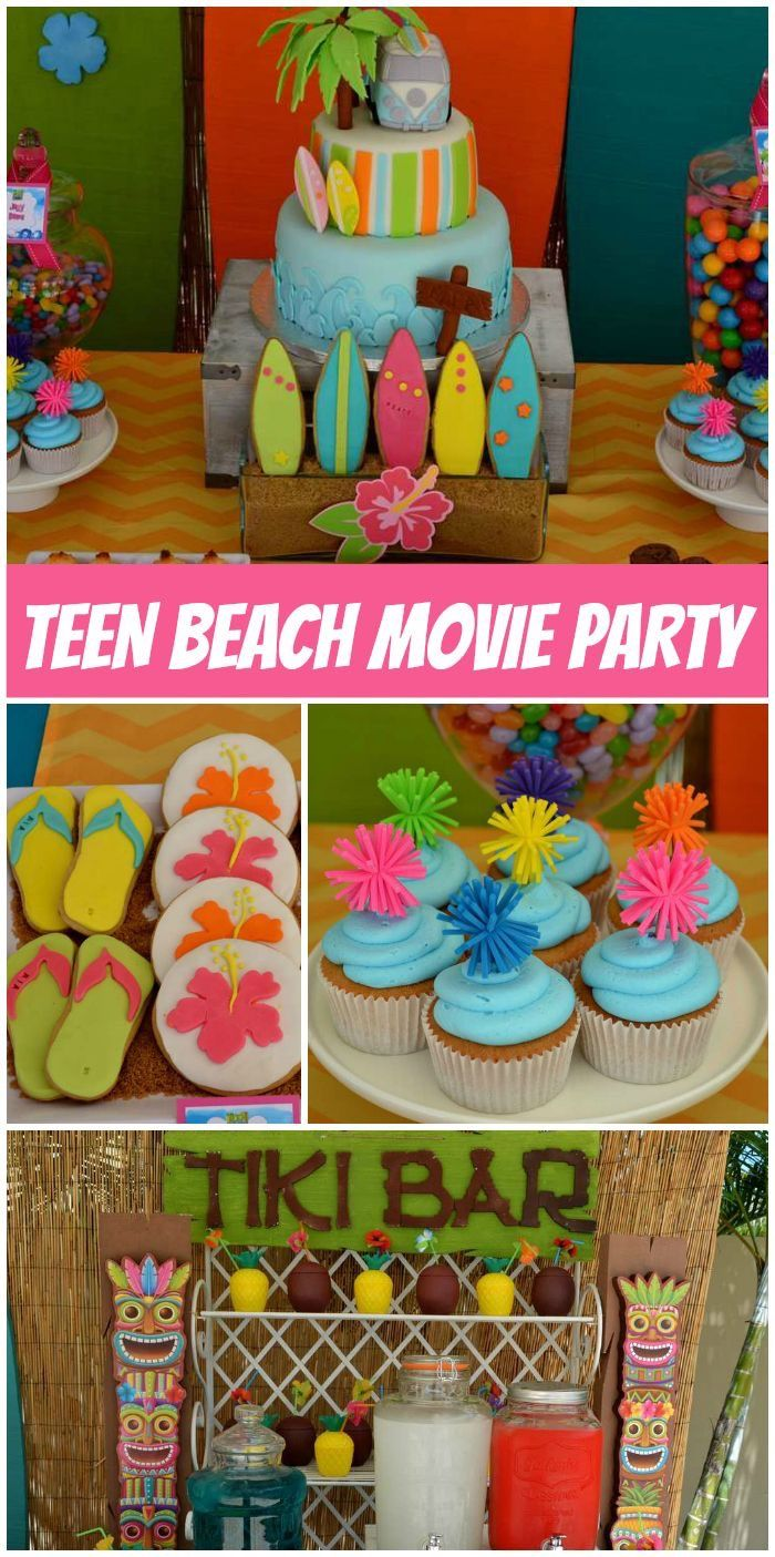 A Teen Beach Movie Girl Birthday Party With Bright Colors Cupcakes Cake And Pool