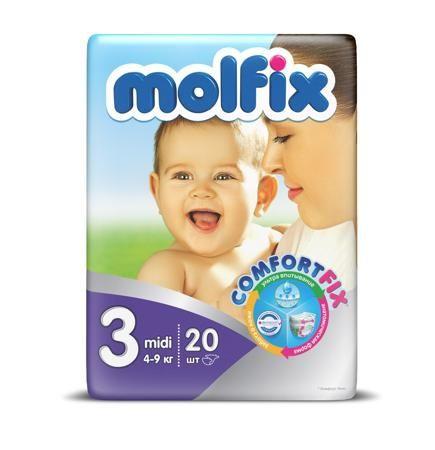 """Molfix Подгузники детские midi 3, 4-9 кг  — 367р. -------------- Подгузники детские """"Molfix"""" Миди 3 (4-9 кг), 20 шт.  Ни для кого ни секрет, что каждая мама хочет обеспечить защиту и комфорт для своего малыша. Новые премиальные подгузники Molfix отвечают самым высоким стандартам качества категории и соответствуют ожиданиям даже самых взыскательных мам: они отлично впитывают, тонкие и эластичные, обеспечивают малышам надежную защиту, комфорт и хорошее настроение.  Подгузники…"""