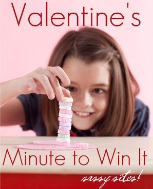Valentine's Day Minute to Win It ideas- very cute! I might do this with the family tomorrow night.