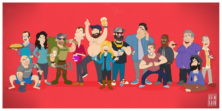 These are all my favorite podcasters, starting from left to right; Joe Rogan, Tom Papa, Whitney Cummings, Cameron Hanes, Ari Shaffir, Bert Kreischer, Christina P, Tom Segura, Brendan Schaub, Bryan Callen, Hannibal Buress, Joey Diaz, Duncan Trussell and Doug Stanhope.   See more at www.ademkaan.com or www.instagram.com/ademkaanillustration