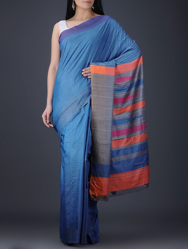 Buy Blue Orange Pink Grey Silk Saree Sarees Woven Online at Jaypore.com
