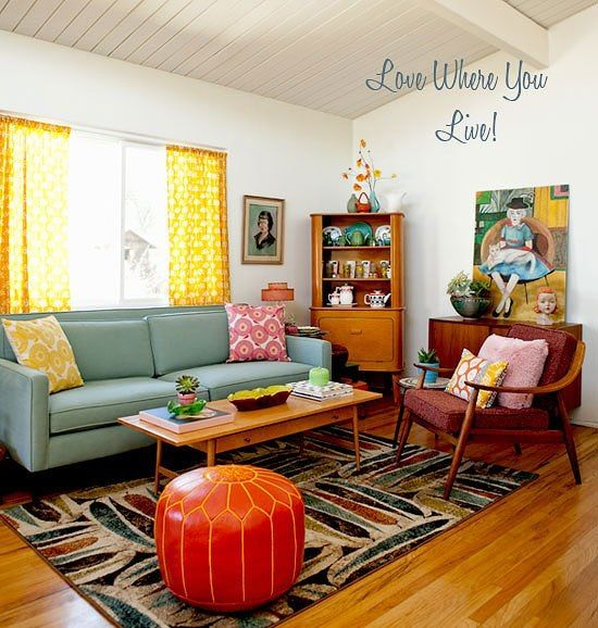 Retro atomic living room d cor home living dining for Living room ideas vintage