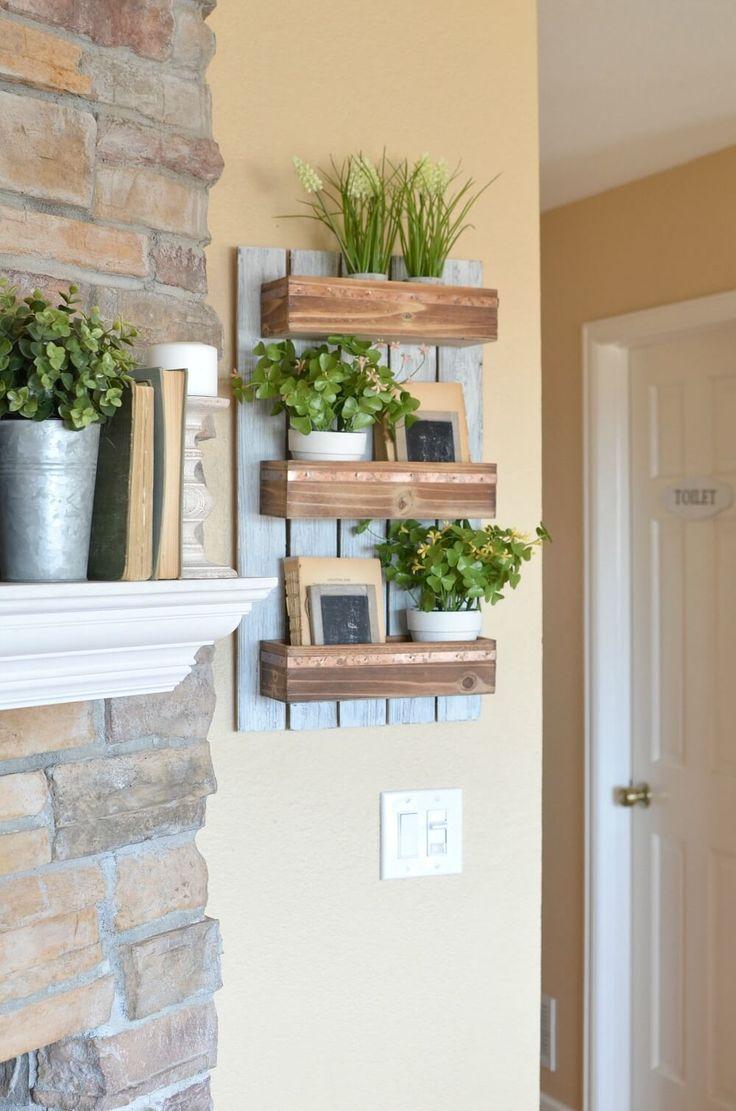 Wooden Shelf for Farmhouse Living Room Designs