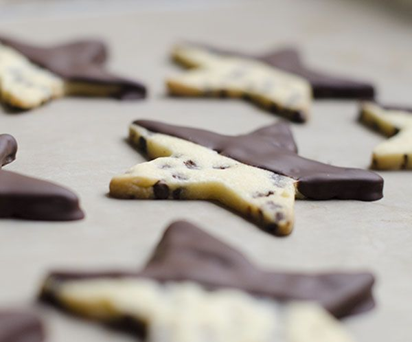 Chocolate Dipped Chocolate Chip Shortbread Cookies