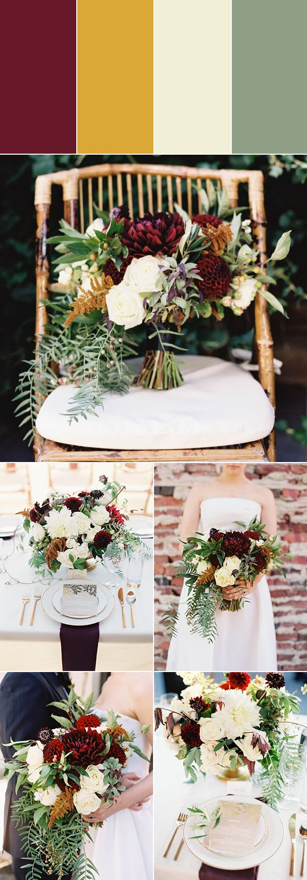 Burgundy + dusty gold + ivory + sage | Images by O'Malley Photographers   #burgundy #burgandycolorpalette #redwedding #fallwedding #colorpalette #weddingplanning #weddingideas #weddingcolors #weddingcolorpalette #weddingdecor #weddingreception #reception #receptiondecor #floraldesign #weddingfloraldesign
