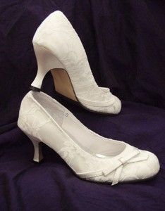 WHITE SATIN & LACE Vintage Style Bridal Wedding Shoes ~ Brand new, all sizes