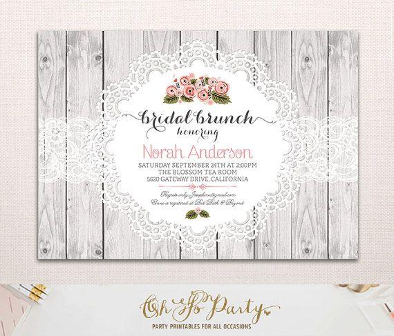 SHABBY BRUNCH nuziale personalizzata Doccia Brunch Invitation Card