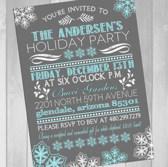 Printable Christmas Party Invitation Holiday Card Template Holiday Party Invitation Winter Wonderland Invitation on Etsy, $15.00