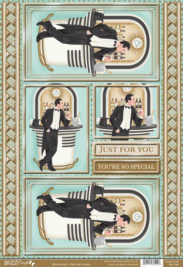 Buzzcraft Renaissance Art Deco die cut toppers - Time Gentlemen