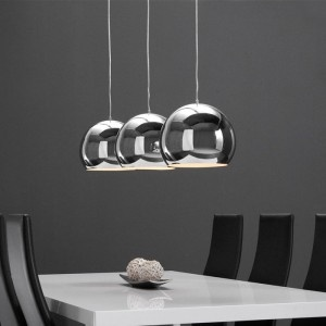 Hanglamp 3L chrome metalen kap / Chrome