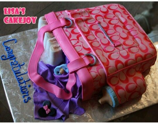 0bf8b757905a ... Cakes for Baby Showers Coach diaper bag cake baby shower ...