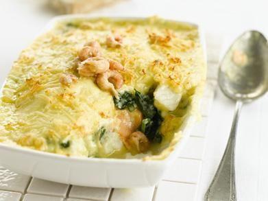 Visgratin met spinazie en garnaaltjes (Libelle Lekker!)