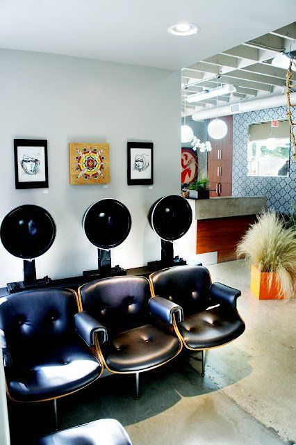 Modern Hair Salon Dryer Chairs | Eames inspired vintage hooded dryers... amazing single chrome legs ...