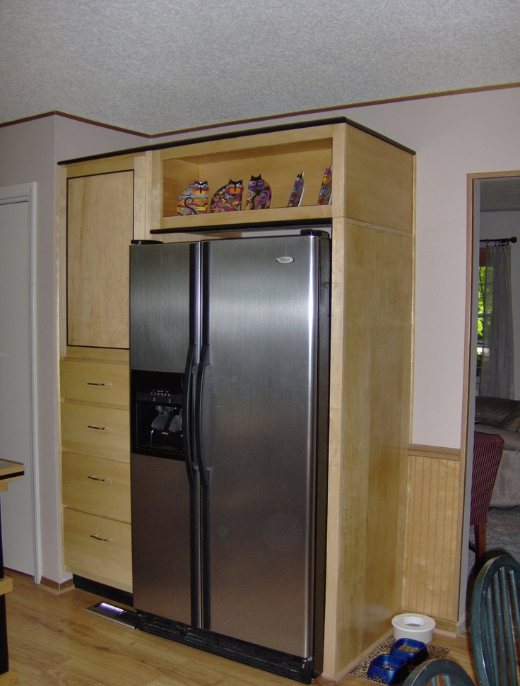 Hard Maple Cabinets And Refrigerator Surround Home