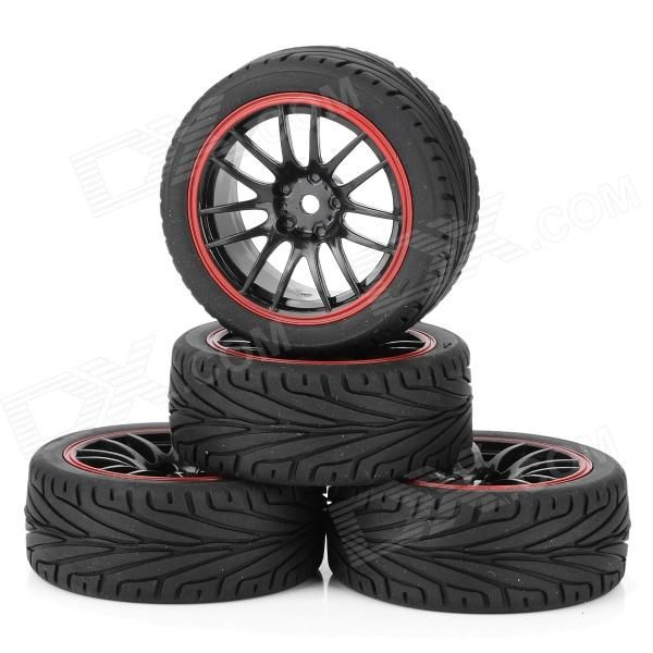 Soft Rubber Tires for 1/10 R/C Highway Flat-road Run Car - Black (4PCS). Brand N/A Model 9068-8010 Quantity 4 Piece(s)/pack Color Black + Red Material Rubber + plastic Compatible device 1/10 R/C highway flat-road run car Functions Replacement tire Other Feature Tires Diameter : 65mm; Tires Width: 26mm; Wheel Diameter: 52 mm; Wheel Width: 26mm; Drive Hex: 12 mm Packing List 4 x Tires. Tags: #Hobbies #Toys #R/C #Toys #Other #Accessories