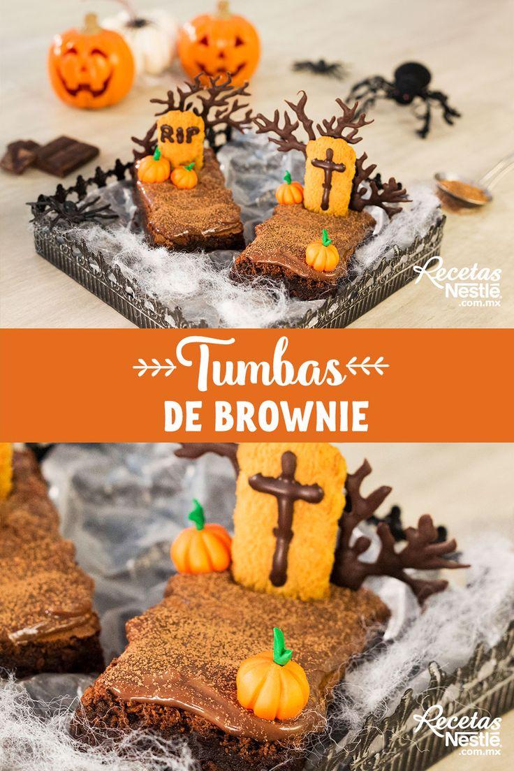 Sorprende a todos tus invitados con estas deliciosas #TUMBAS de #BROWNIE Brownies, Cocoa, Halloween, Gingerbread Cookies, Desserts, Ideas, Recipes, Easy Recipes, Deserts