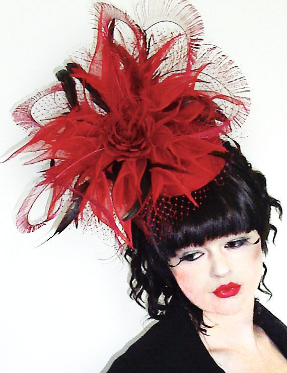 Poppy Red Pillbox Fascinator Hat by JessiCoutureBoutique on Etsy